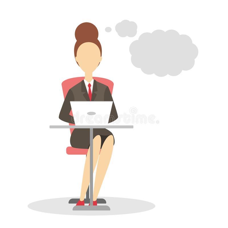 Woman sitting at the desk and working on the laptop computer. Worker talking using speech bubble. Empty space for message. Isolated flat vector illustration stock illustration