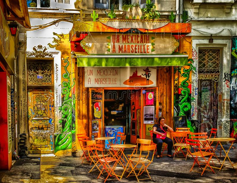 Marseilles-Mexican Restaurant stock images