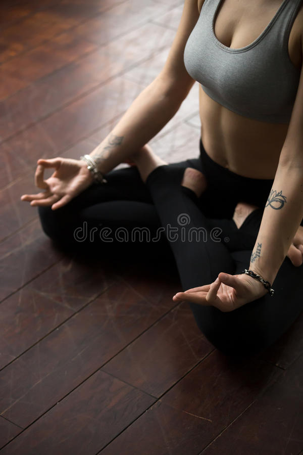 Woman sitting on floor in padmasana pose making mudra gesture stock download woman sitting on floor in padmasana pose making mudra gesture stock photo image thecheapjerseys Choice Image
