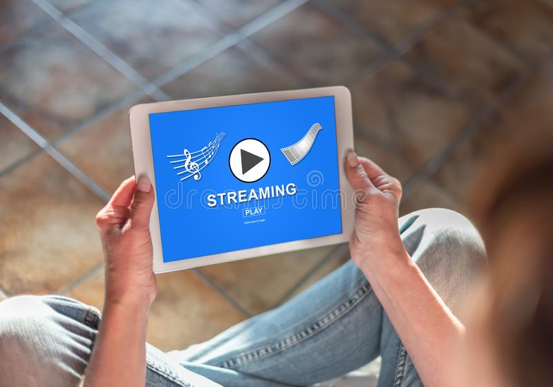 Streaming concept on a tablet stock photography