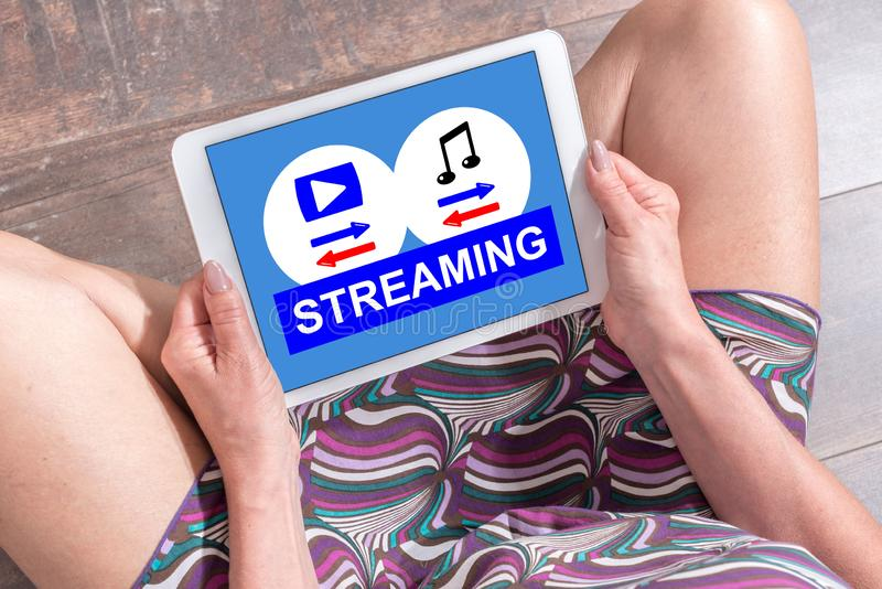 Streaming concept on a tablet royalty free stock photos