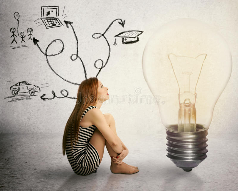 Woman sitting in front of light bulb thinking has many thoughts life ideas stock illustration