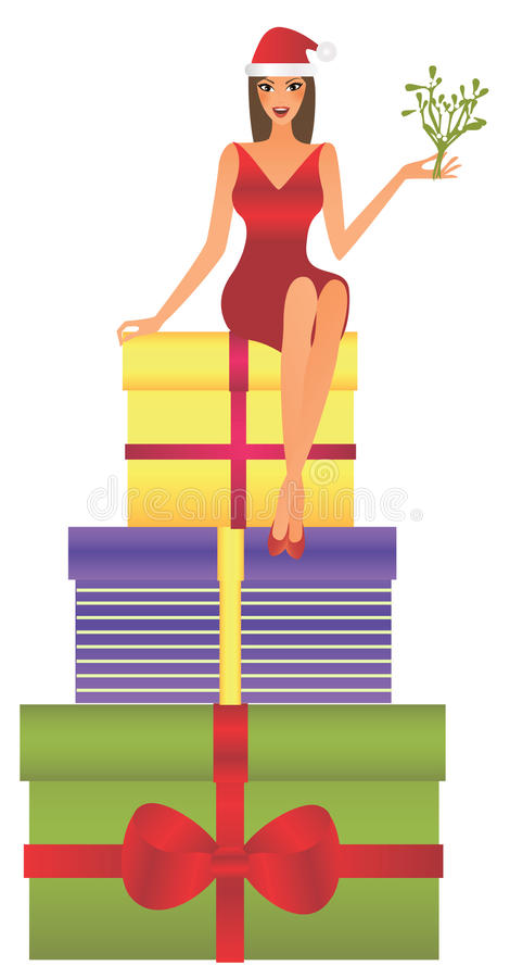Woman sitting on gifts royalty free stock images