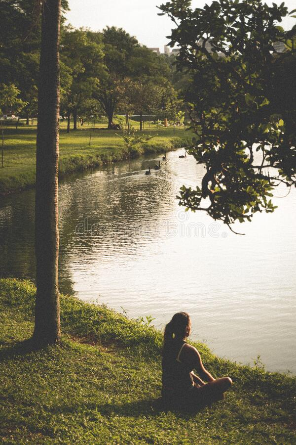 Woman Sitting on Grass by Lake royalty free stock images