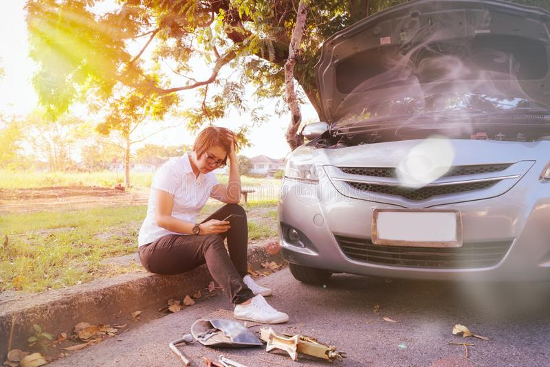 car broken down on the road side royalty free stock images