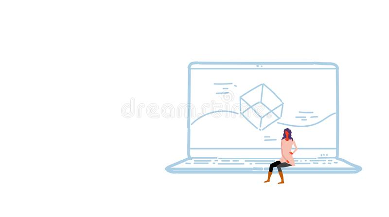 Woman sitting laptop computer app development concept screen interface application design female developer sketch doodle stock illustration