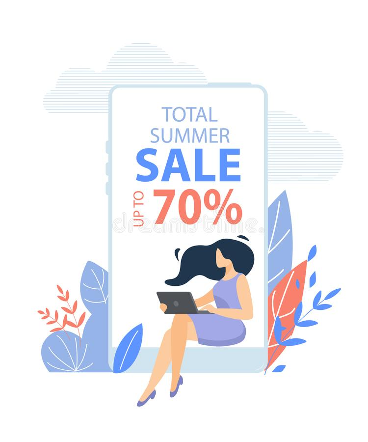 Woman Sitting with Laptop at Huge Smartphone. Young Woman in Casual Dress Sitting with Laptop in Hands at Huge Smartphone with Total Summer Sale Typography on vector illustration