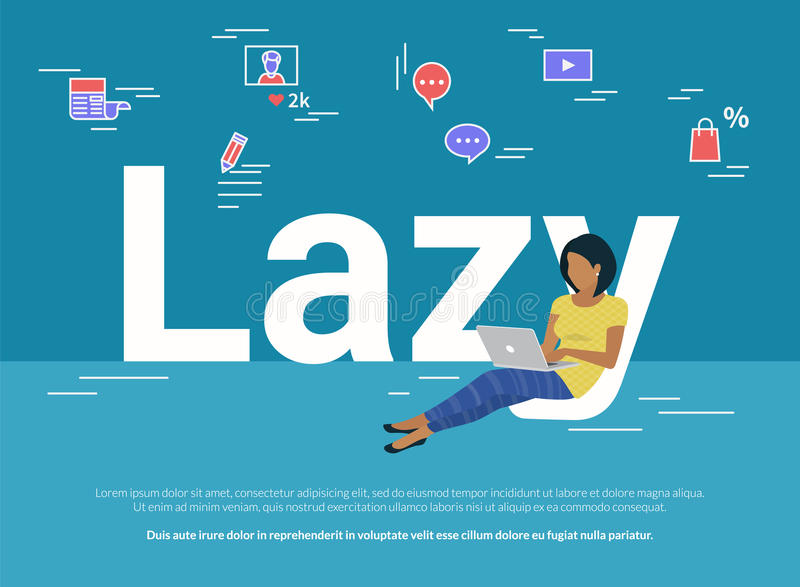 Woman sitting with laptop on letters lazy and working. Hands typing a message in social networks. Flat illustration of people work or relax at home using royalty free illustration