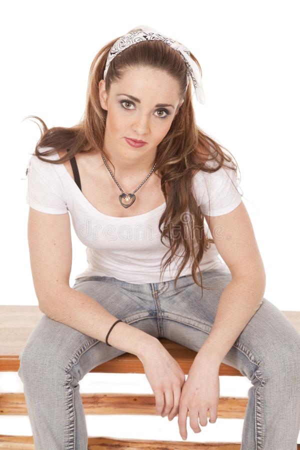 Woman Sitting Leaning Forward Stock Photo - Image of face