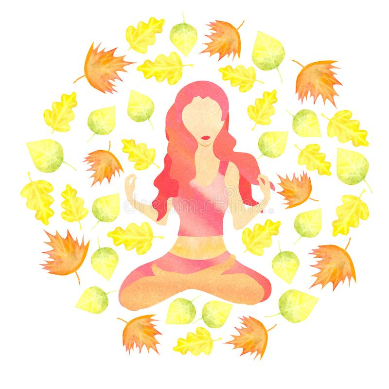 Woman sitting in lotus pose with autumn leaves flying around stock illustration