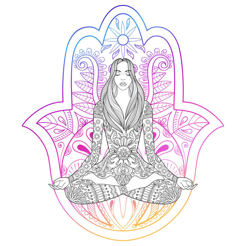 Woman sitting in lotus position on color hamsa hand background. Vector ornate girl silhouette for adult coloring pages, meditation, yoga, gipsy soul, hand vector illustration