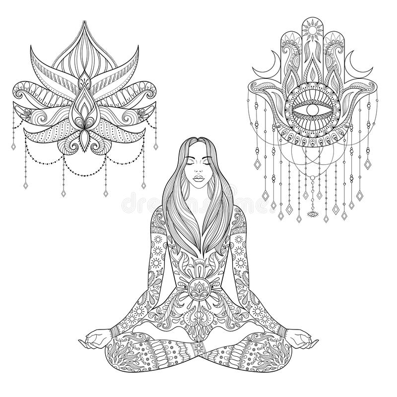 Woman sitting in lotus position, hamsa hand, flower tattoo design. Vector ornate girl silhouette for adult coloring. Pages, meditation, yoga, gipsy soul royalty free illustration