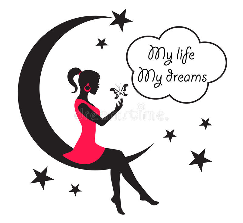 Woman sitting on the moon among the stars and clouds. Silhouette of a woman sitting on the moon among the stars and clouds on a white background stock illustration