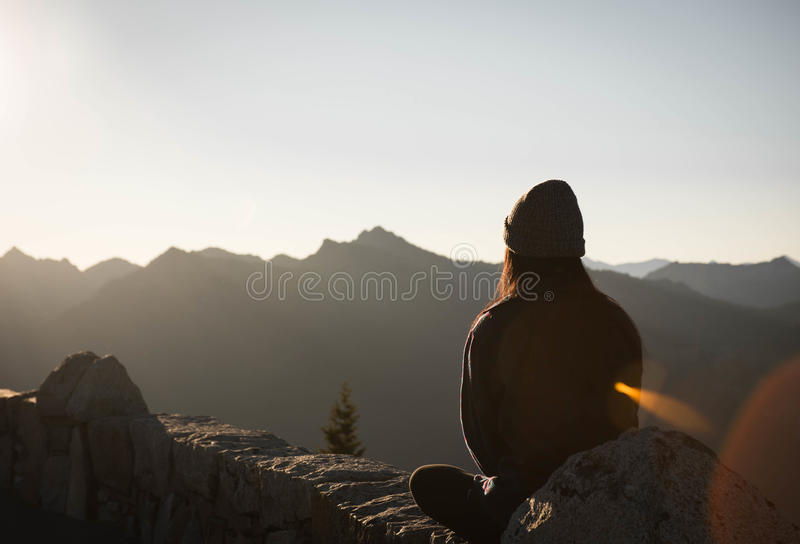 Woman Sitting On Mountain Rock Golden Hour Photography Free Public Domain Cc0 Image
