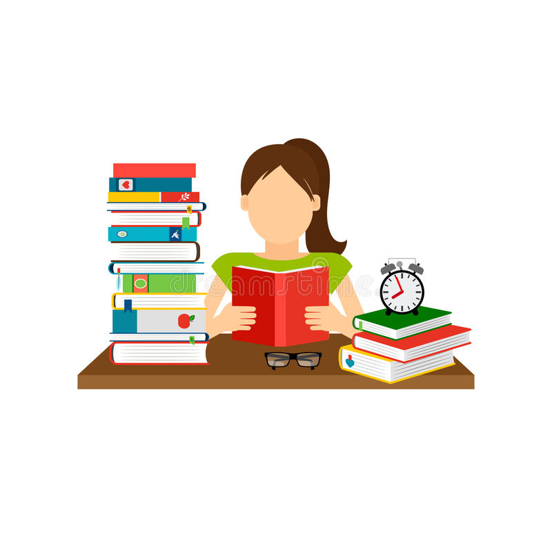 Woman sitting and reading book vector illustration