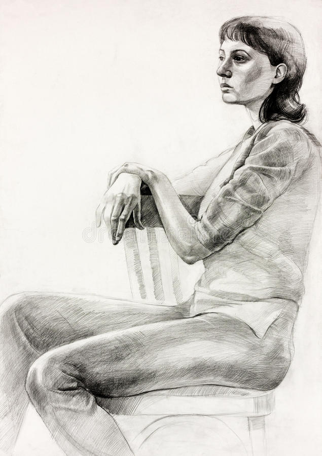 Woman sitting sketch stock illustration