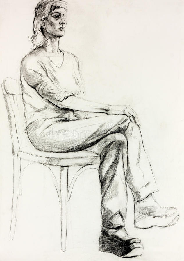 Woman sitting sketch royalty free illustration