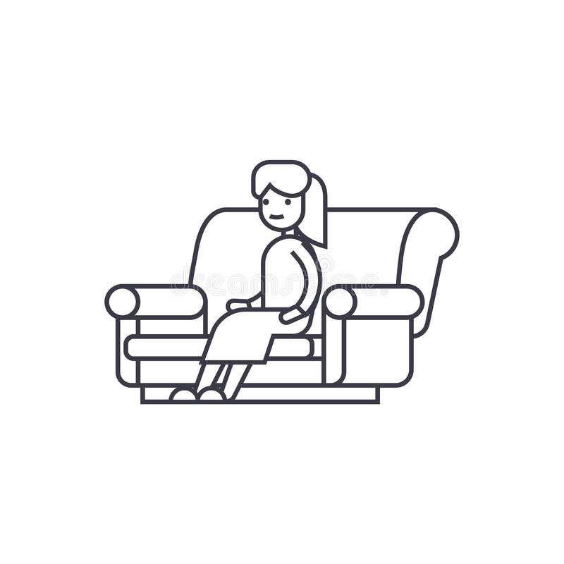 Woman sitting on the sofa vector line icon, sign, illustration on background, editable strokes vector illustration