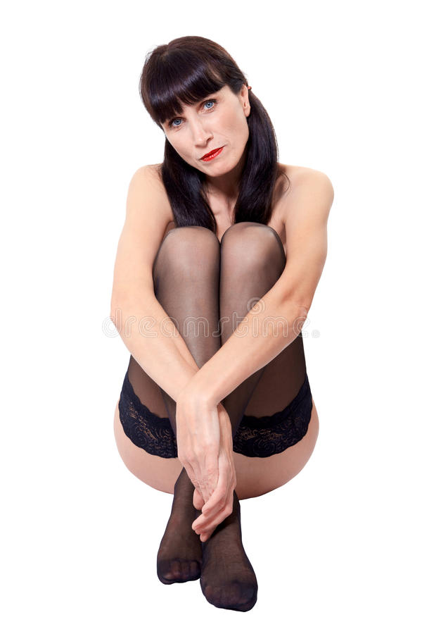 Download Woman sitting in stockings stock image. Image of mature - 34127561
