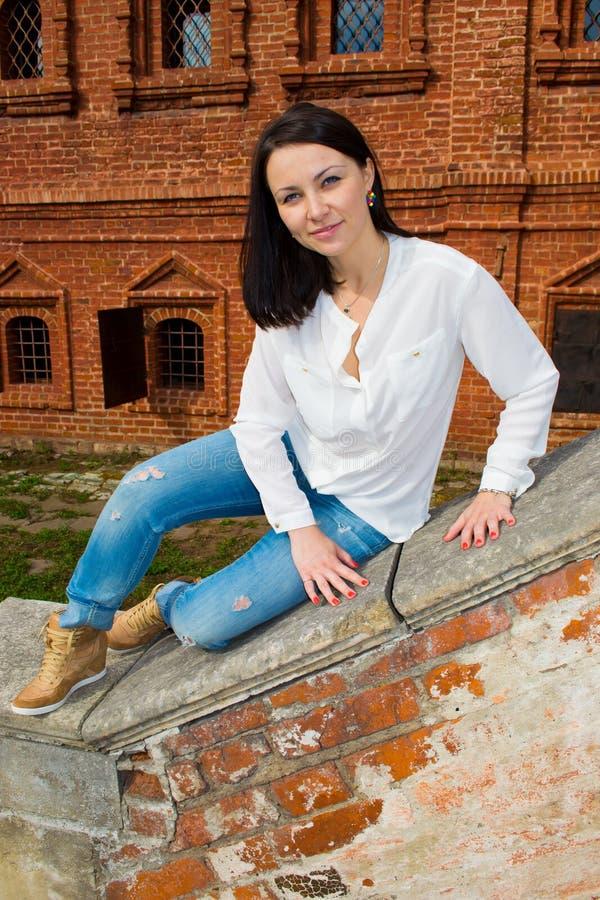 Woman Sitting On Stone Staircase Railing Stock Photo ...