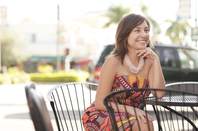 Download Woman sitting at a table stock photo. Image of woman - 17329856