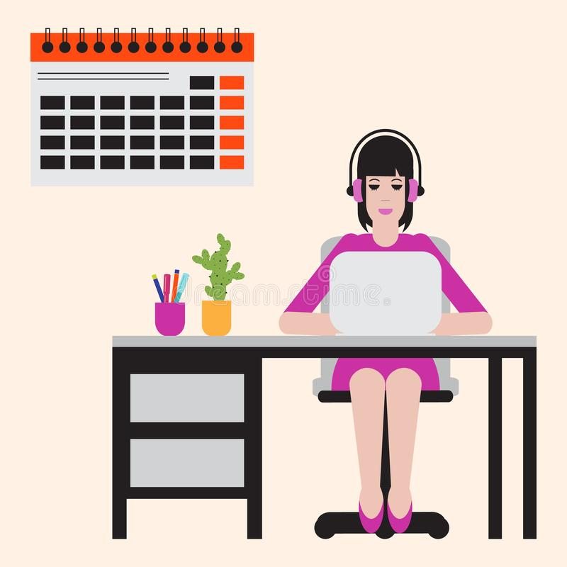 Woman sitting at table and working on laptop. Workspace. Vector. Woman sitting at table and working on laptop. Workspace vector illustration