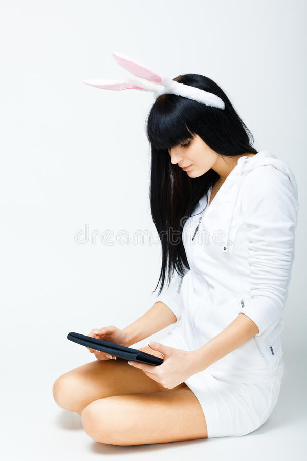 Download Woman Sitting With Tablet Pc Stock Photo - Image: 17730640