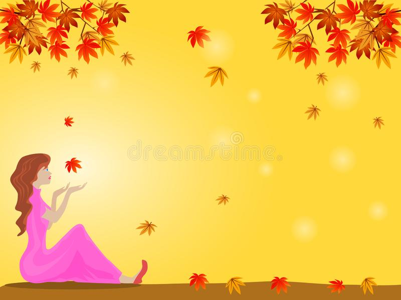 Woman sitting under a tree with colorful leaves There is yellow in the background. stock images