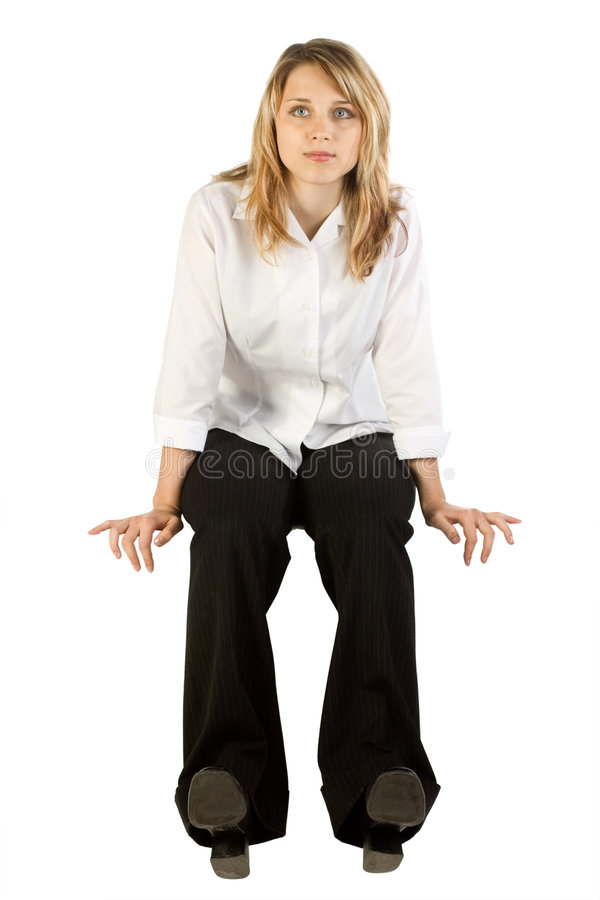 Woman Sitting and Waiting stock images