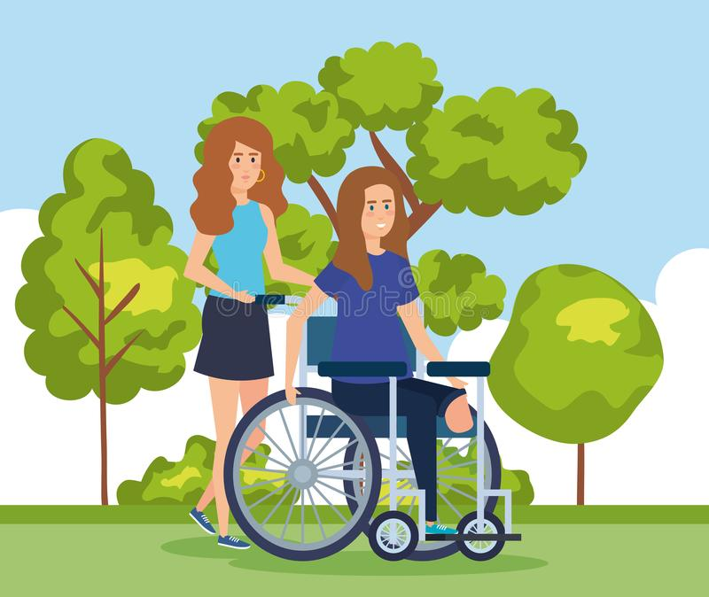 Woman sitting in wheelchair without leg and cityscape. Vector illustration stock illustration
