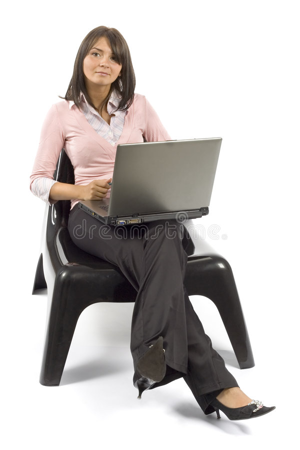 Woman sitting; working computer royalty free stock photos
