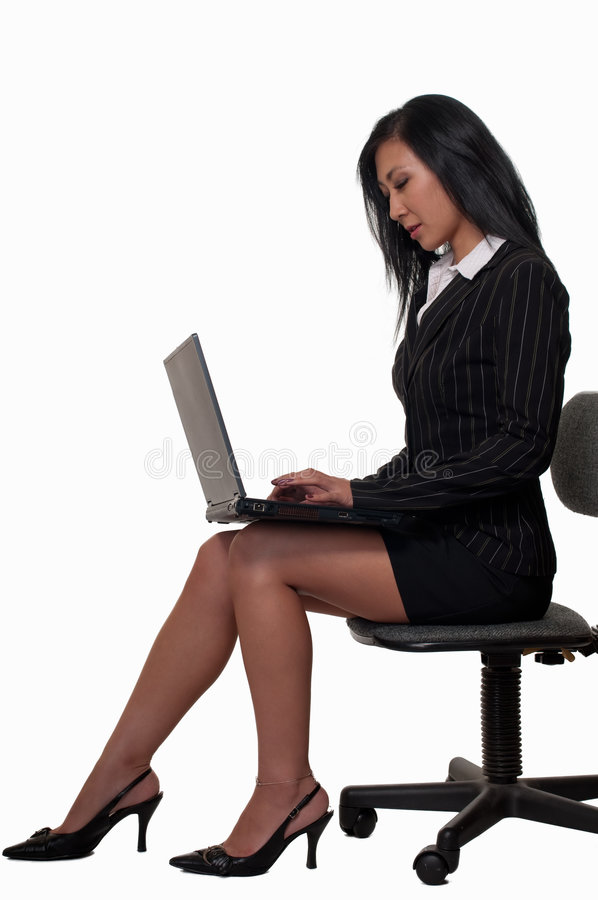 Download Woman Sitting And Working On Laptop Stock Image - Image: 8202419