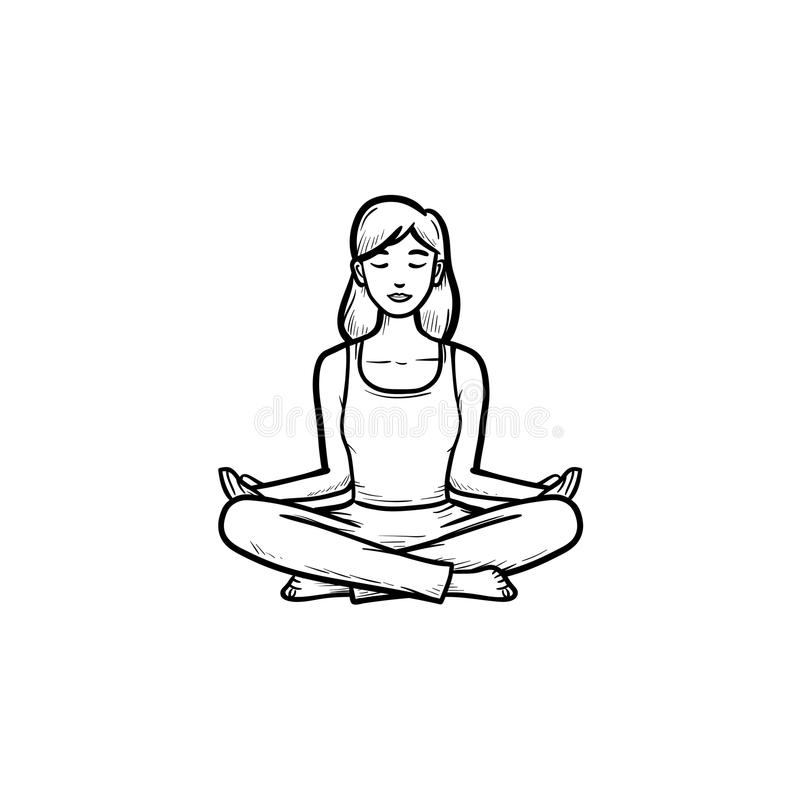 Sketch Woman Meditation In Lotus Pose Stock Vector