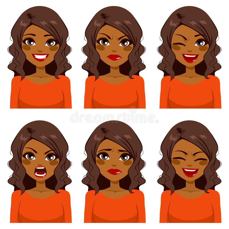 Woman Six Face Expressions. Beautiful African American woman with curly hair making six different face expressions set with red shirt stock illustration
