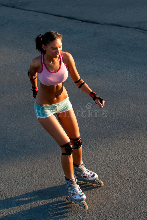 Download Woman skating stock image. Image of road, adult, roller - 15073223