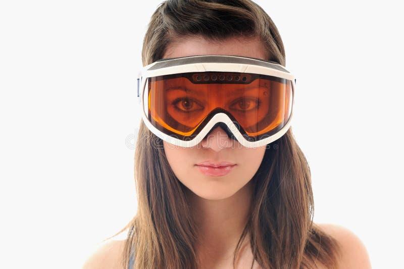 Woman ski glasses stock photos