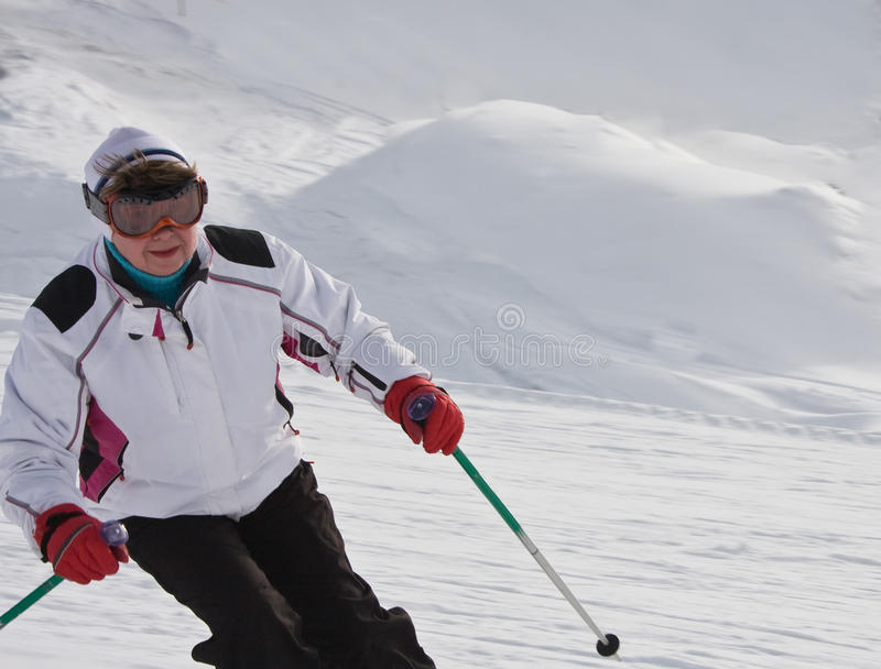 Download Woman Is Skiing At A Ski Resort Stock Photo - Image: 16269576