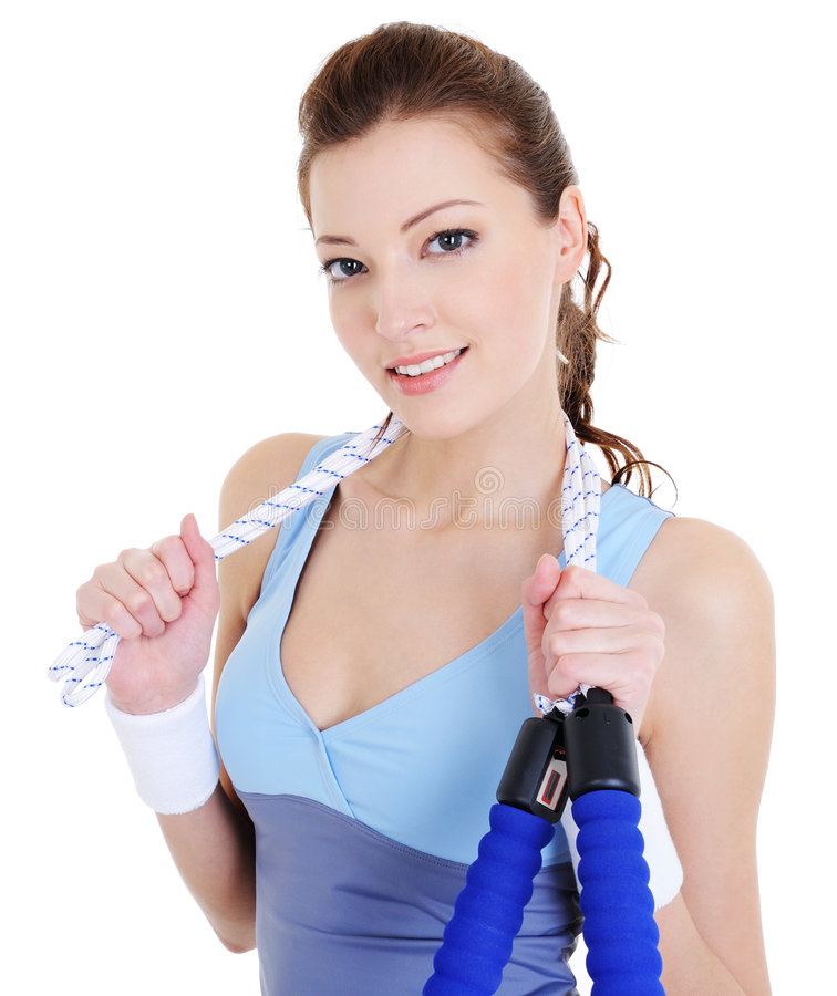 Download Woman with skipping rope stock image. Image of girl, laughing - 9123553