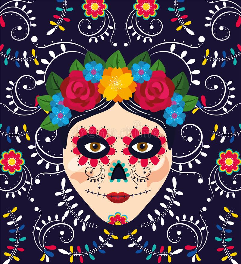 Woman skull decoration with flowers to mexican event vector illustration