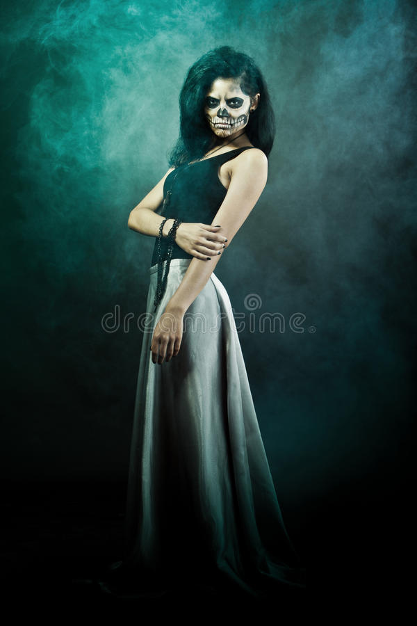 Download Woman With Skull Face. Halloween Face Art Royalty Free Stock Photos - Image: 26813368