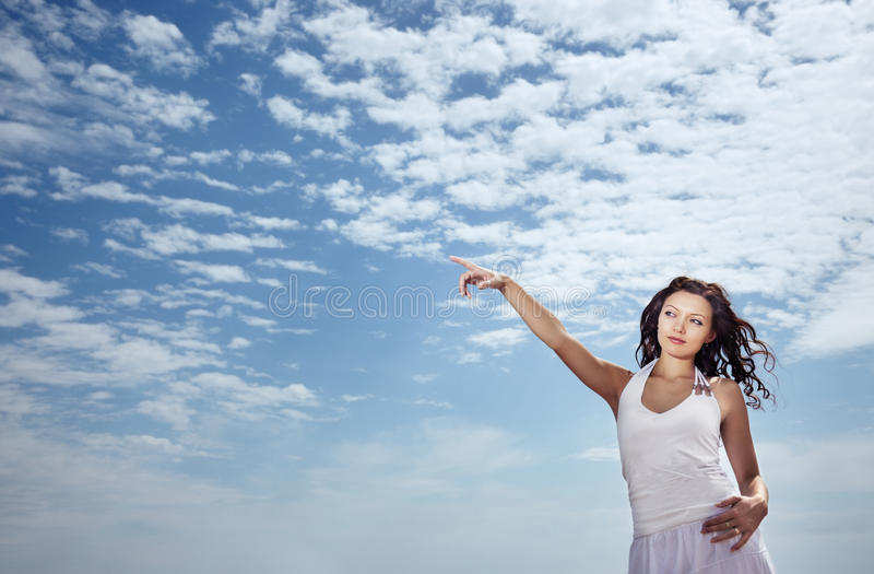 Woman and sky royalty free stock images