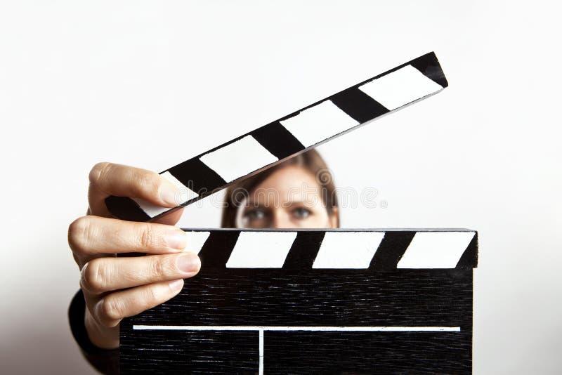 Woman and slate stock image
