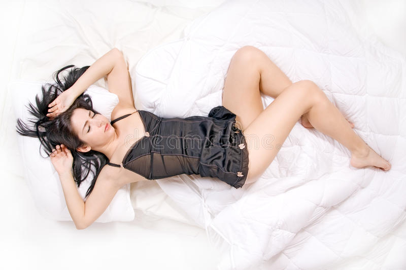 Download Woman sleep on bed stock photo. Image of caucasian, brunette - 20989874