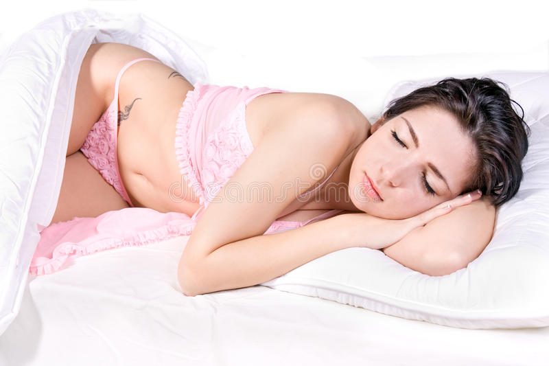 Download Woman sleep in bed stock image. Image of female, brunette - 23992945