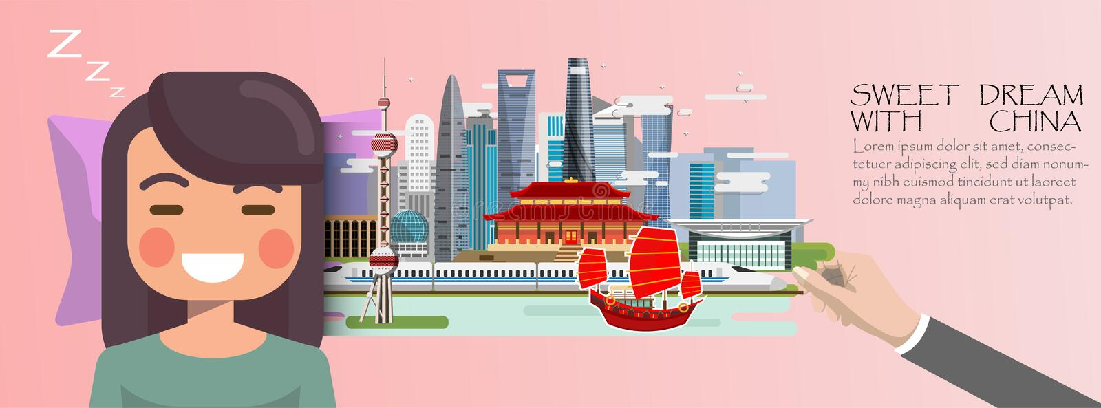 Woman sleep . Sweet dream with Shanghai travel concept.China inf. Ographic stock illustration
