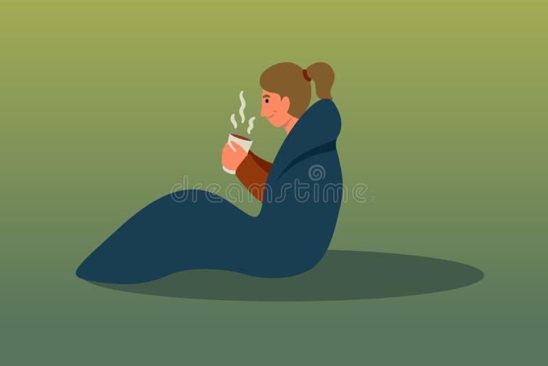 Woman in sleeping bag flat vector illustration stock illustration