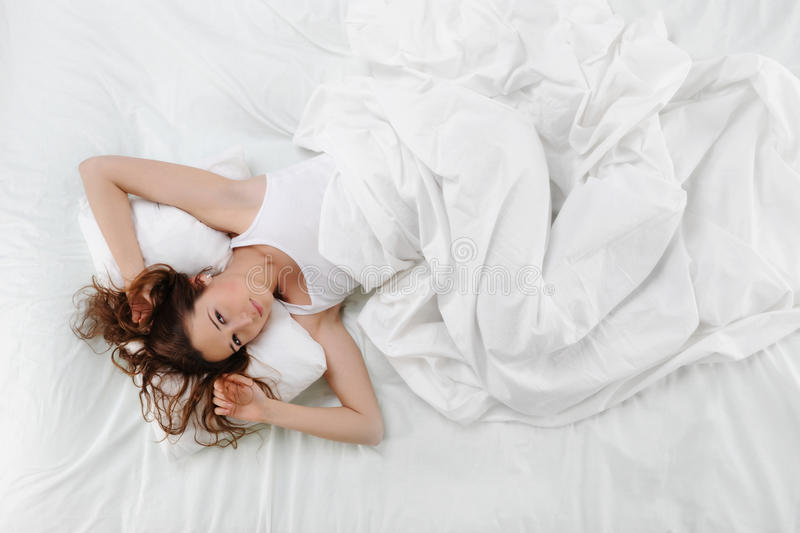 Download Woman sleeping on the bed stock photo. Image of alone - 18450492