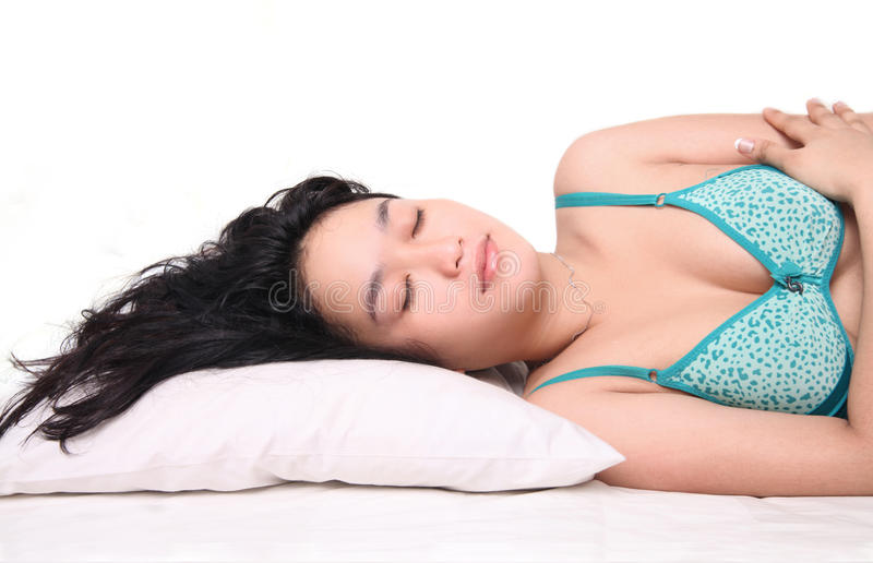 Download Woman sleeping on bed stock photo. Image of indoors, lady - 29355984