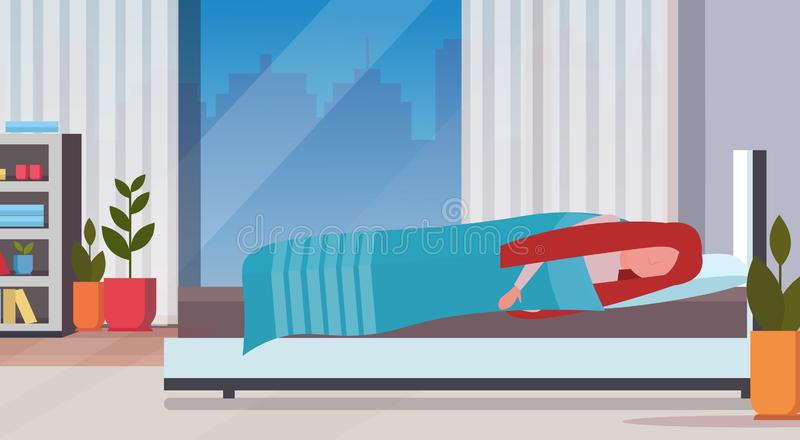 Woman sleeping in bed covered with quilt lazy girl sleep at morning bedroom modern apartment interior female cartoon. Character flat horizontal full length stock illustration