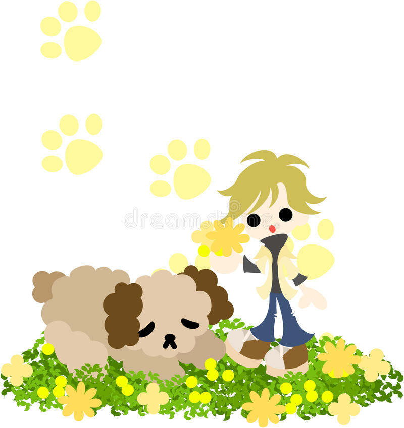 Download A Woman With A Sleeping Dog Stock Vector - Image: 33278044